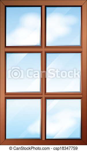 A wooden window with glasspanes - csp18347759
