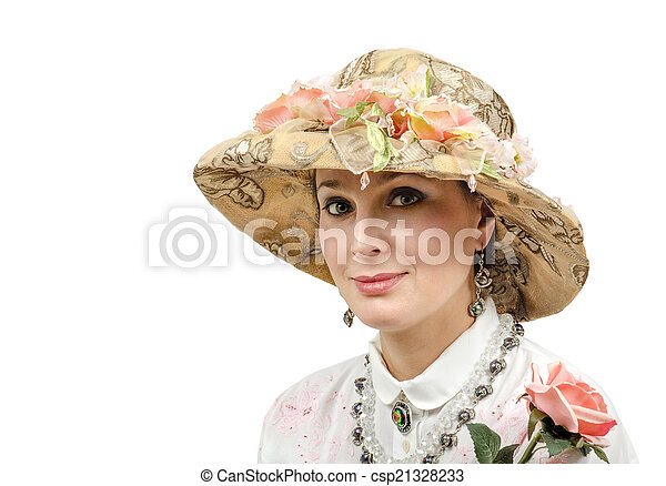 Adult beauty wearing tapestry hat - csp21328233