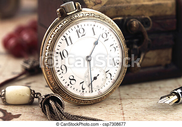 Antique Retro Pocket Clock and decoration objects - csp7308677
