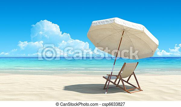 Beach chair and umbrella on idyllic tropical sand beach - csp6633827