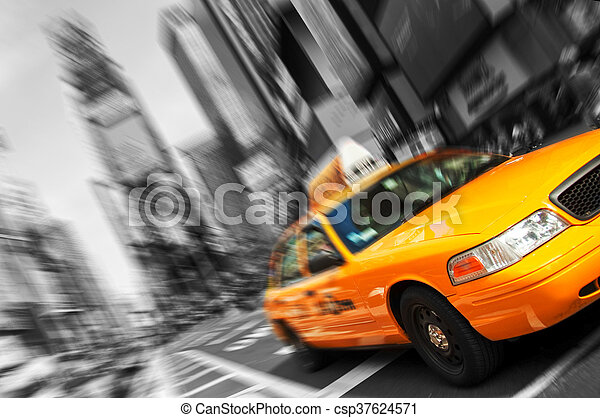 Beautiful Black and White New York City, Times Square Yellow Taxi, Motion Blur. All logo and trademarks are blurred out. - csp37624571