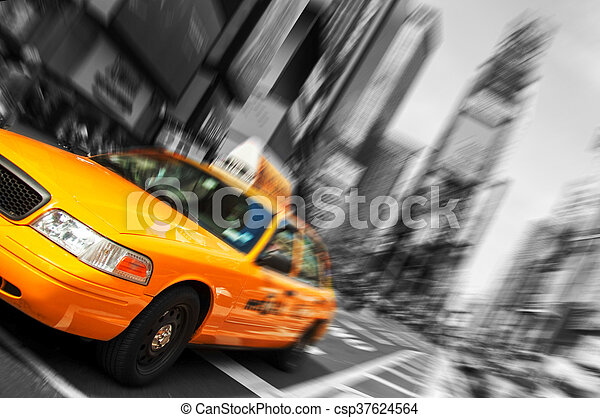 Beautiful Black and White New York City, Times Square Yellow Taxi, Motion Blur. All logo and trademarks are blurred out. - csp37624564