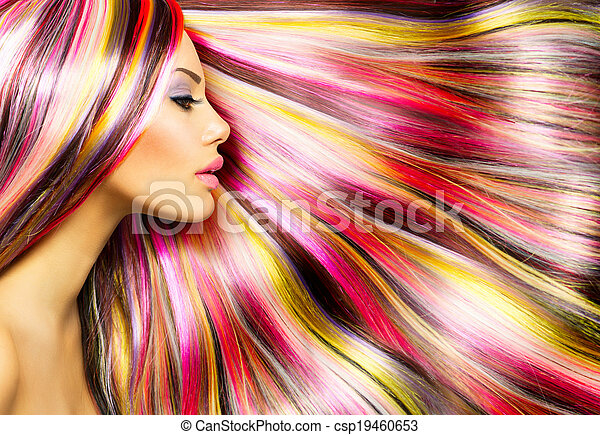Beauty Fashion Model  with Colorful Dyed Hair - csp19460653
