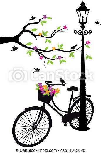 bicycle with lamp, flowers and tree - csp11043028