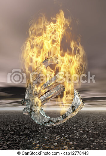 Burning Euro Sign - csp12778443