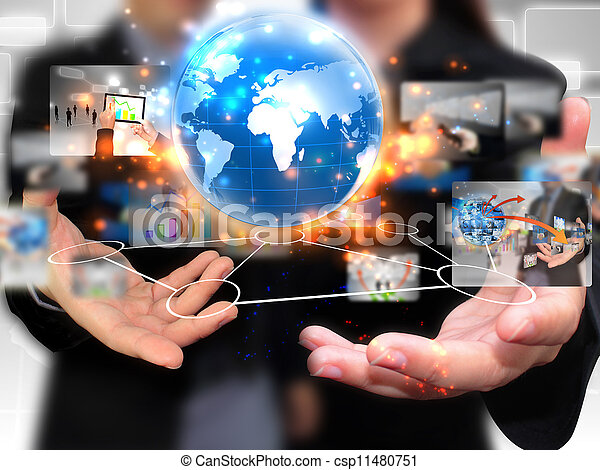 Business people holding social media - csp11480751