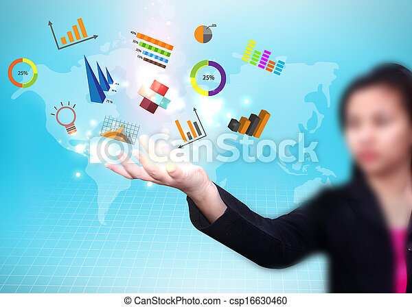 Business woman holding social media icon - csp16630460