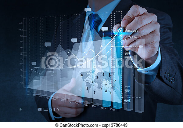 businessman hand working with new modern computer and business strategy as concept - csp13780443
