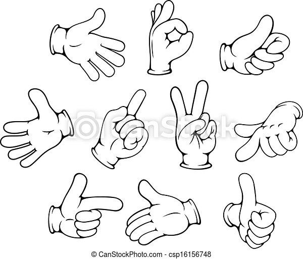 Cartoon hand gestures set - csp16156748