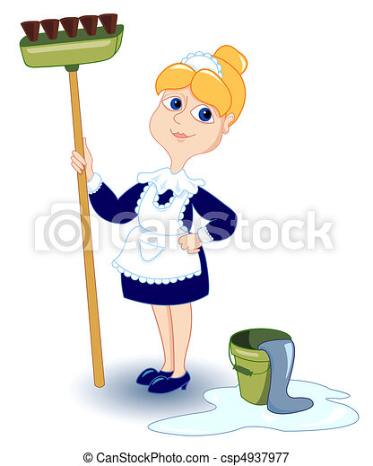 Cleaning girl. - csp4937977