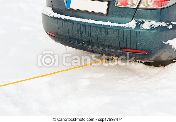 closeup of towing car with towing rope - csp17997474