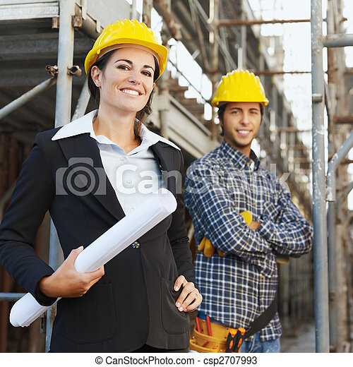 construction worker and architect - csp2707993