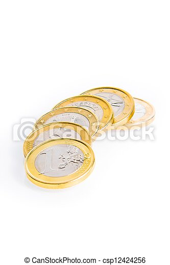 crisis of eurozone, six euro coins - csp12424256