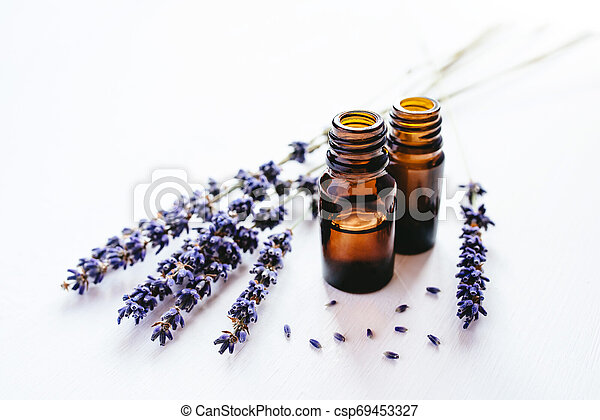 Dried lavender with a bottle of essential oil - csp69453327