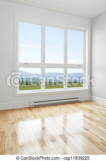 Empty room and summer landscape seen through the window - csp11839225