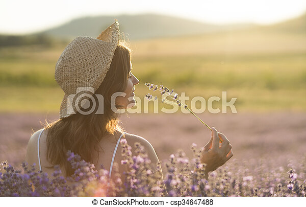 Enjoying the fragrance - csp34647488