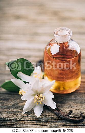 Essential oil with jasmine flower and vanilla - csp45154228