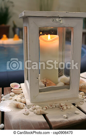 evening candle by spa bath - csp0906470