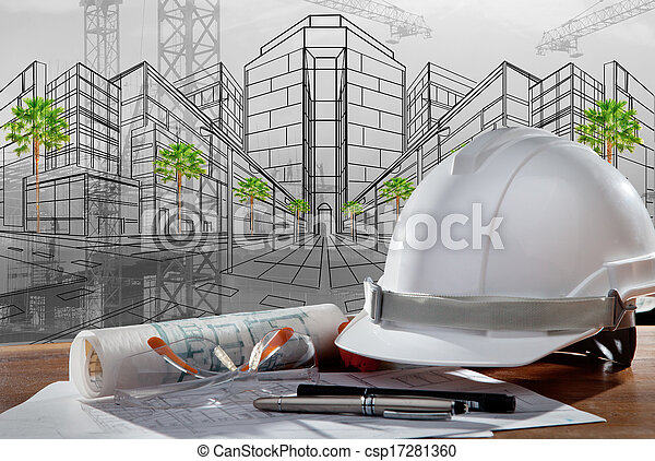 file of safety helmet and architect pland on wood table with sunset scene and building construction - csp17281360