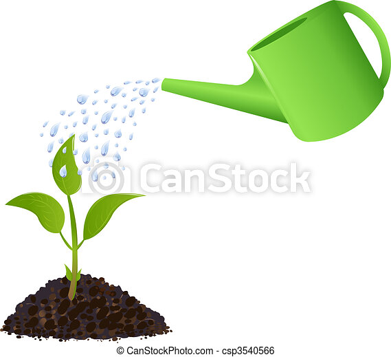 Green Young plant with watering can - csp3540566