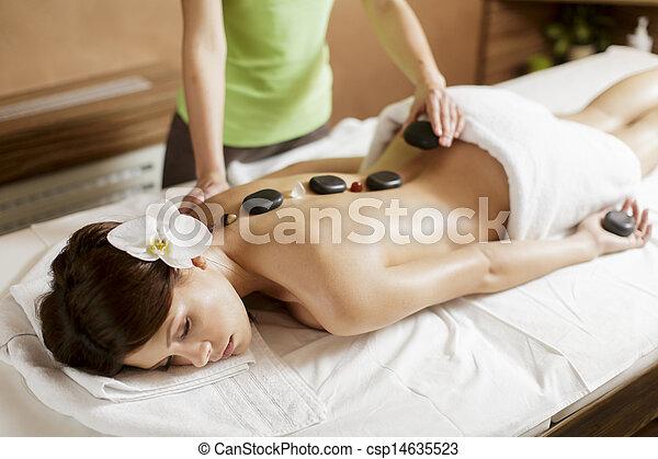 Hot stone massage therapy - csp14635523