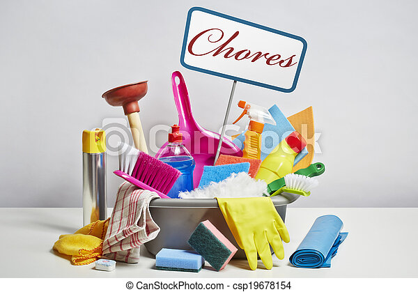 House cleaning products pile on white background - csp19678154