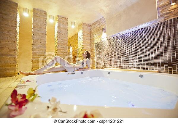 in hot tub - csp11281221