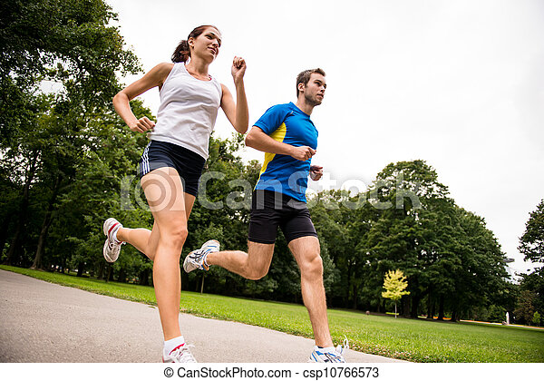Jogging together - sport young couple - csp10766573