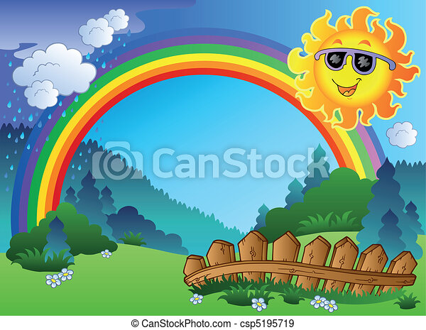 Landscape with rainbow and Sun - csp5195719