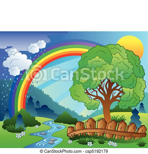 Landscape with rainbow and tree - csp5192179