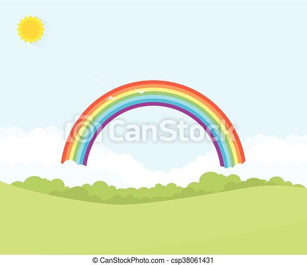 landscape with rainbow - csp38061431