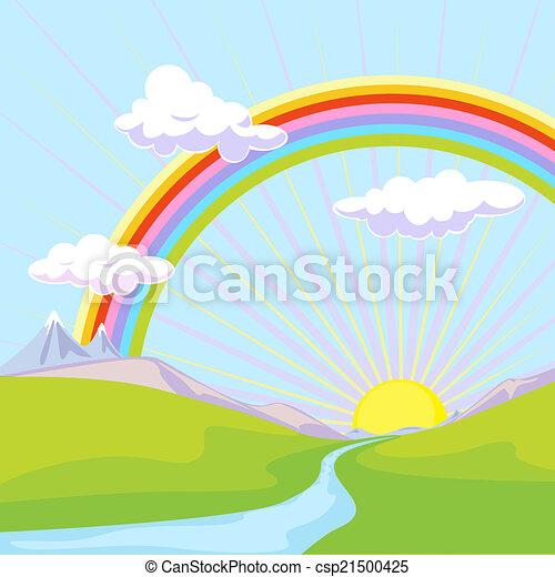 landscape with rainbow - csp21500425