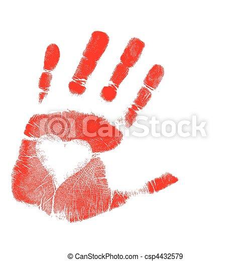 love Hand print / Vector - csp4432579