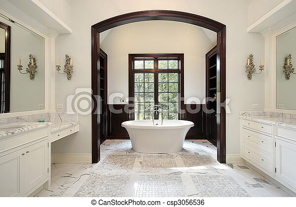 Master bath with arched tub area - csp3056536
