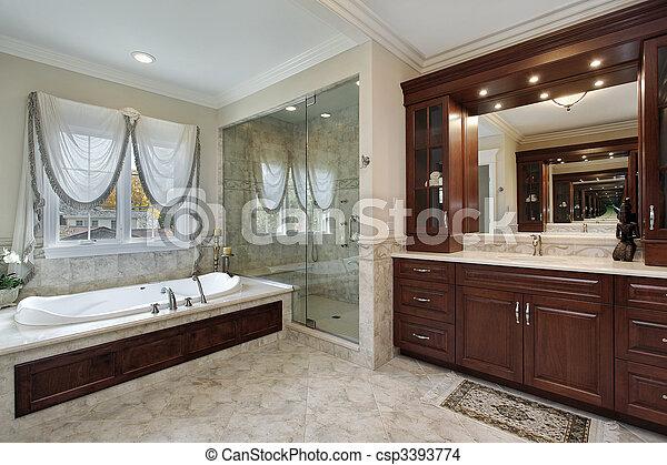 Master bath with marble tub - csp3393774