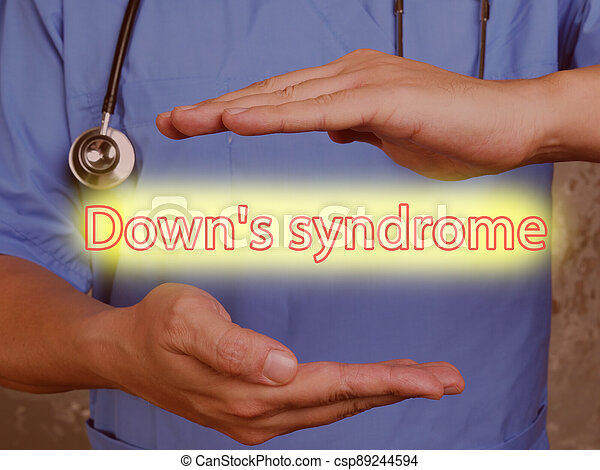 Medical concept meaning Down's syndrome with sign on the page. - csp89244594