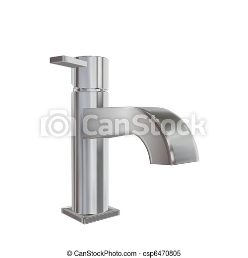 Modern faucet with chrome or stainless steel finishing, 3d illustration, isolated against a white background. Kitchen fixtures. - csp6470805