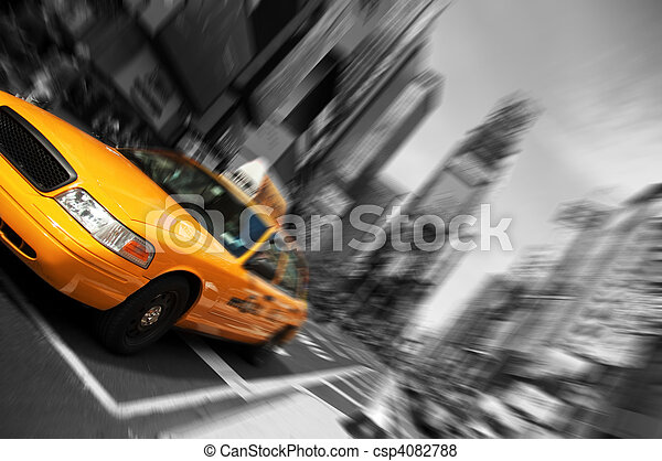 New York City Taxi, Blur focus motion, Times Square - csp4082788