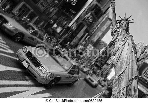 new york city, times square, taxi focus motion blur - csp9839455