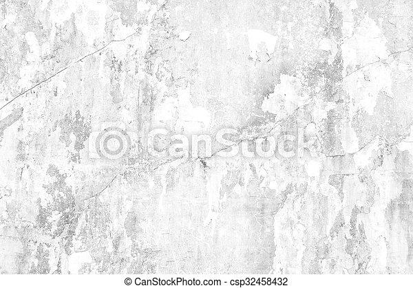 Old white grunge concrete wall - csp32458432