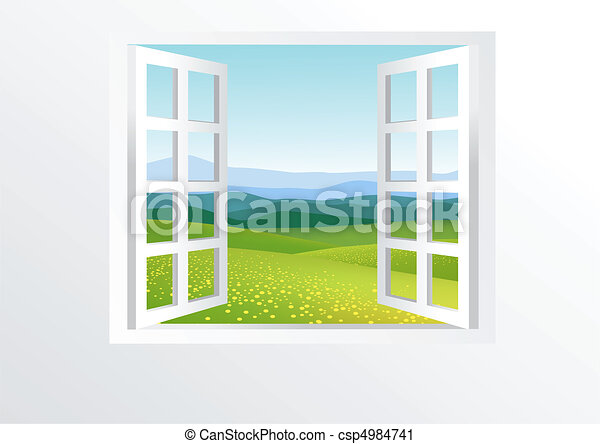 Open window and nature - csp4984741