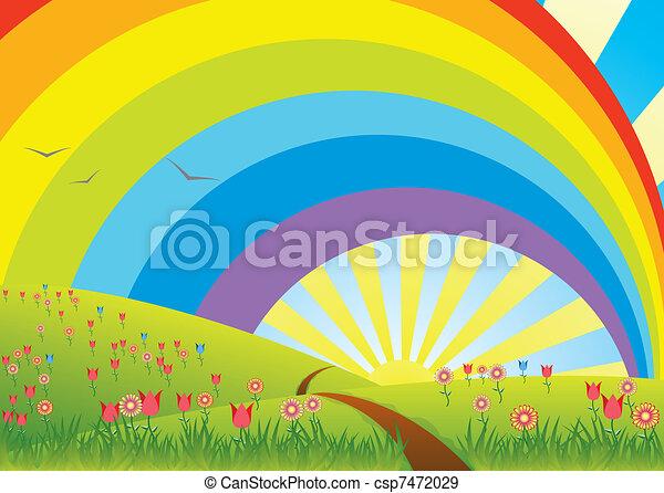 rural landscape with rainbow - csp7472029