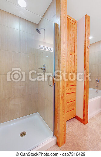 Shower and tub in a new bathroom with closet - csp7316429