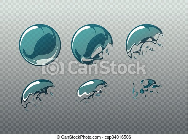 Soap bubble bursting. Animation frames set in cartoon style - csp34016506
