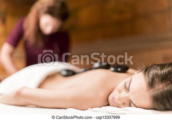 Spa hot stone massage - csp13307999