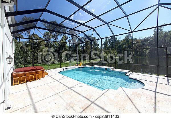 Swimming Pool with Lake View - csp23911433