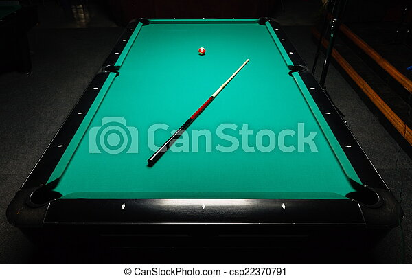 Table for billiards and ball top view - csp22370791