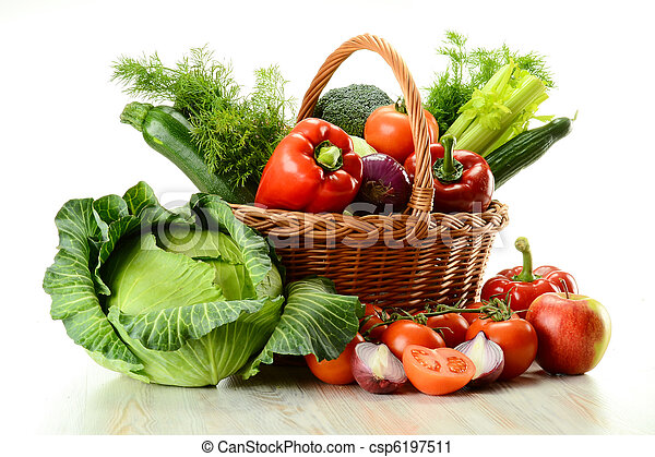 Vegetables in wicker basket - csp6197511
