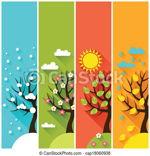 Vertical banners with winter, spring, summer, autumn trees. - csp18060938