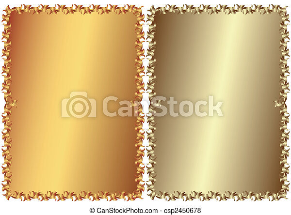 Vintage bronze and silvery frames (vector) - csp2450678